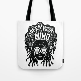Open Your Mind in black Tote Bag