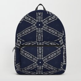 Navy Blue Patterns and Words Backpack