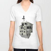 flight V-neck T-shirts featuring FLIGHT by NOA ALON ART