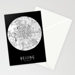 Beijing City Map of China - Full Moon Stationery Cards