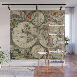 1689 Map of the World by Gerard van Schagen Wall Mural