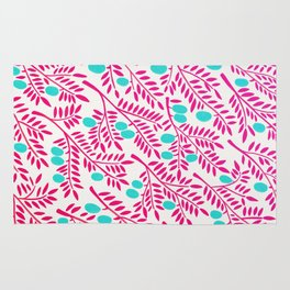 Olive Branches – Pink Ombré & Turquoise Rug