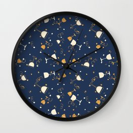 Chic navy blue faux gold glitter party time Wall Clock