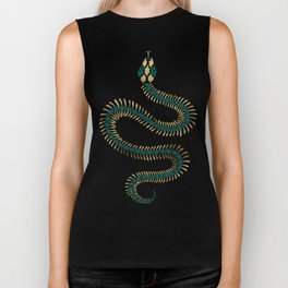 Snake Skeleton – Emerald & Gold Biker Tank
