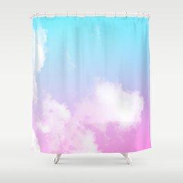 Pink Summer Clouds Shower Curtain