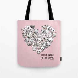 Just Love. (black text) Tote Bag
