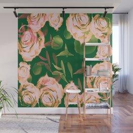 Emerald & Vintage Pink Roses & Petals Wall Mural