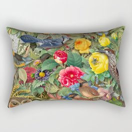 Birds Insects Plants Rectangular Pillow