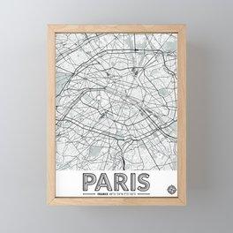 Paris France Map With Coordinates Framed Mini Art Print