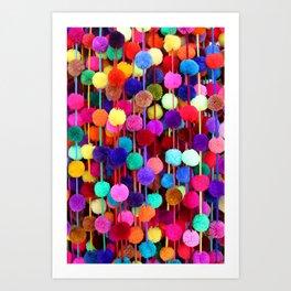 Rainbow Pom-poms (Vertical) Art Print