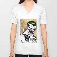 jared leto V-neck T-shirts featuring Mark Hamill + Jared Leto = The Joker by VanBof