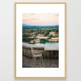 Sunset for one at lake Bled Framed Art Print