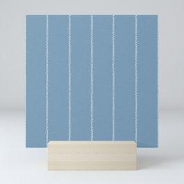 French Blue Linen Stripe Mini Art Print