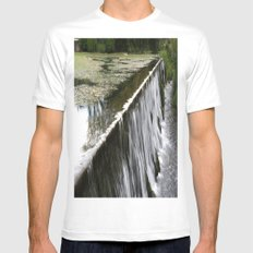 Water falling MEDIUM Mens Fitted Tee White