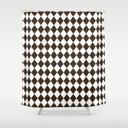 Cocoa Brown Modern Diamond Pattern Shower Curtain