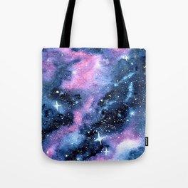 Twinkling Pink Watercolor Galaxy Tote Bag