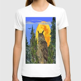 OWL WITH FULL MOON & TREES NATURE BLUE DESIGN T-shirt