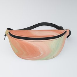 Peach and Mint Green Abstract Digital Watercolor Fanny Pack