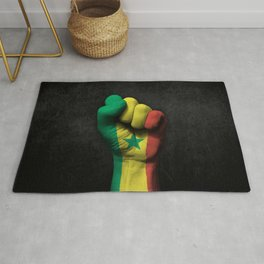 Senegal Flag on a Raised Clenched Fist Rug