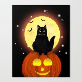 Halloween Black Cat on Pumpkin Canvas Print