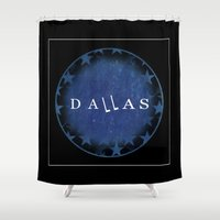 dallas Shower Curtains featuring Dallas by Sally Sparkshine