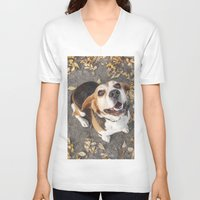 beagle V-neck T-shirts featuring Beagle by Renata's Photobox