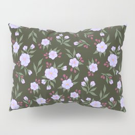 Lilac Flowers on Green - Floral Pattern Pillow Sham