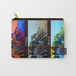 Funky Beach Huts (Triptych) Carry-All Pouch