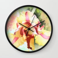 water colour Wall Clocks featuring Water colour parrot tulip by thea walstra
