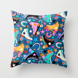 Retro Rainbow Roller Skates and Stars Throw Pillow