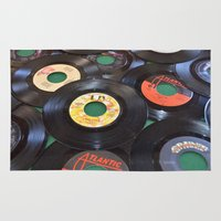 records Area & Throw Rugs featuring 45 Records by JD Lord