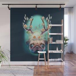 PUG HORNS UP - Pug Dog Wall Mural