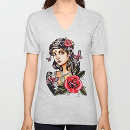 Girl with Butterflies - tattoo Unisex V-Neck