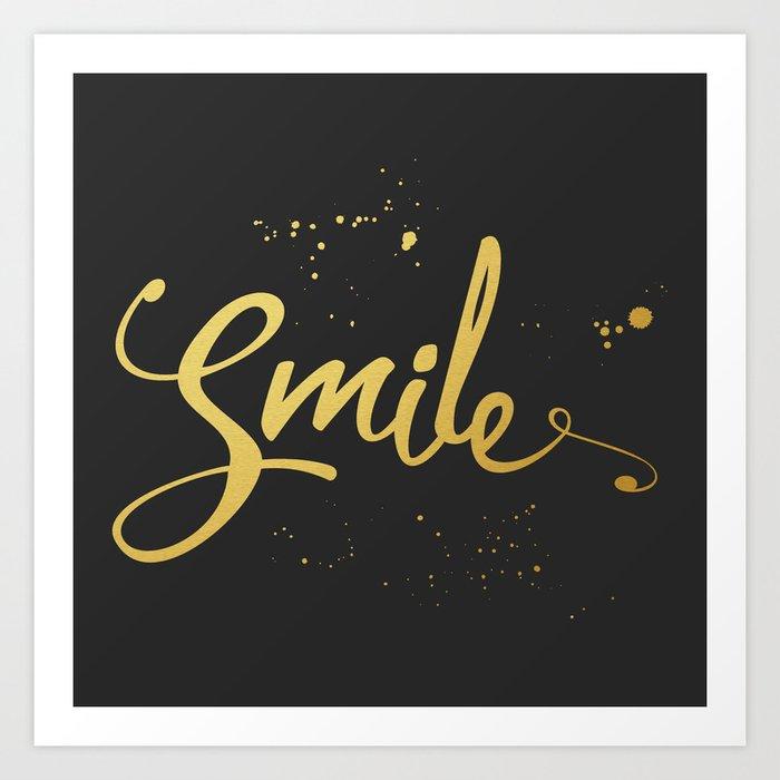 Gold Smile Quote Art Print