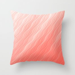 Living Coral Wavy Ombre Pattern Throw Pillow