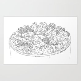 Roasting red peppers line drawing Art Print