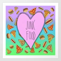 junk food Art Prints featuring JUNK FOOD by SteffiMetal