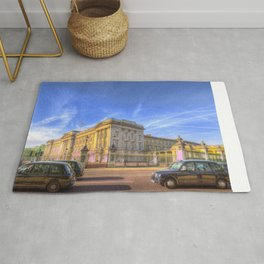 Buckingham Palace And london Taxis Rug