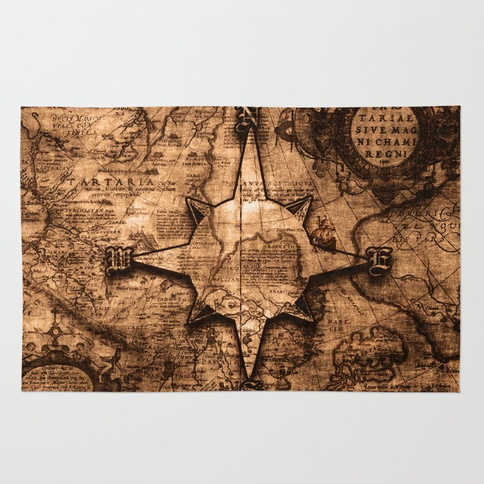 World Map Rug Ebay: Compass Rose Rugs