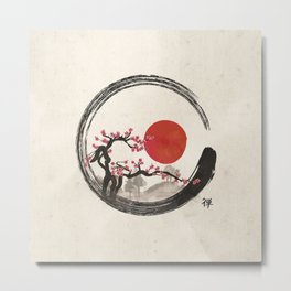 Zen Enso Circle and Sakura Tree Metal Print