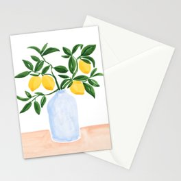 Lemon Tree Branch in a Vase Stationery Cards