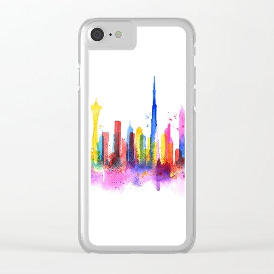 Color Dubai Skyline on White Clear iPhone Case