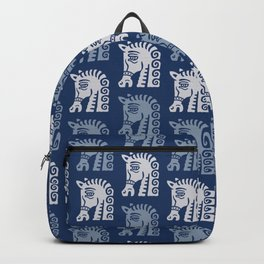 Mid Century Horse Pattern Blues Backpack