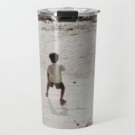 A boy and a dog Travel Mug