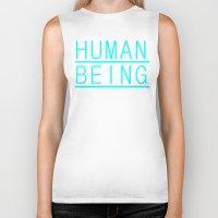 human Biker Tanks featuring Human by PsychoBudgie
