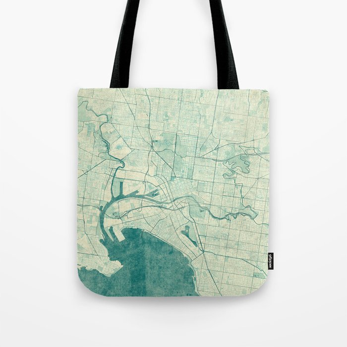 Melbourne Map Blue Vintage Tote Bag