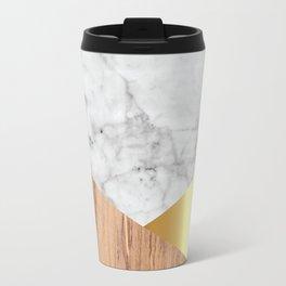 White Marble Wood & Gold #884 Travel Mug