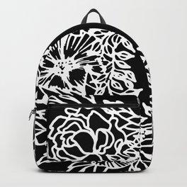 White Linocut Flowery Wreath On Black Backpack