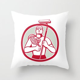 High Rise Window Cleaner Circle Retro Throw Pillow