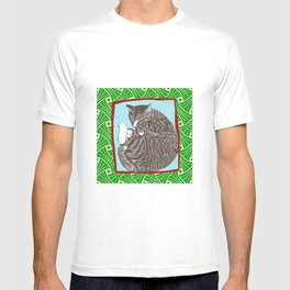 Sleeping cat linocut japanese drawing T-shirt